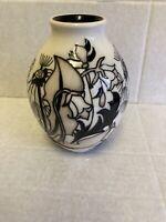 "Moorcroft ""Timeless"" Vase 3/5 Emma Bossons RRP £340 Monochro Christmas Gift 🎁"