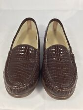 1bf17d73eaa SAS Tripad Brown Croc Embossed Patent Leather Womens Loafers Size 6.5 N