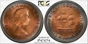 1960 SOUTH AFRICA ONE PENNY BU PCGS MS64RB TARGET TONED COIN IN HIGH GRADE