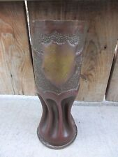 Antique 1918 WW1 Trench Art Artillery Shell Vase Crest 1918 Souvenir De France