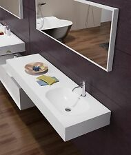 """Victoria 48"""" Wall Mounted Basin, Solid Surface matte white Bathroom Vanity"""