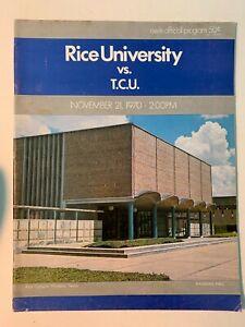 1970 Rice University Owls vs TCU Horned Frogs Football Program VERY GOOD Cond