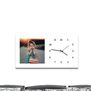 75 x 40 cm personalized canvas wrap. Built-in clock. Photo printed gift, present