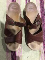 Dansko Womens Shoes Slip On Sandals Brown Leather Straps 37 / 6.5 / 7 Platform