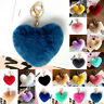 Rabbit Fur Pom-pom Key Chain Bag Charm Fluffy Puff Ball Bow Key Ring Pendant 8CM