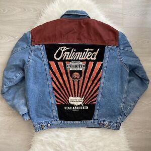Unlimited Vintage Denim Jacket Size Large Mens Trucker Embroidered Mid Wash