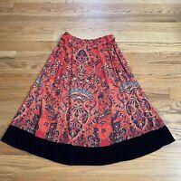 Soft Surroundings Womens Skirt Baroque Border Velvet Trim Long Size S