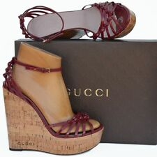 GUCCI New sz 39.5 - 9.5 Designer Womens Cork Platform Wedge Heels Sandals Shoes