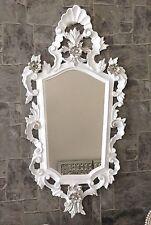 Espejo de Pared Barroco BLANCO PLATA ANTIGUO Baño bar 83x43 Ovalado