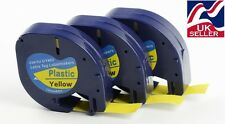 3 x tape cartridge 91202 yellow plastic 12mm x 4m for DYMO LETRATAG label makers