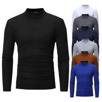 Men Winter Mock Neck Basic Plain T-shirt Tops Blouse Pullover Long Sleeve Top