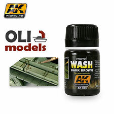 Weathering DARK BROWN WASH for GREEN VEHICLES Enamel 35ml - AK Interactive 045
