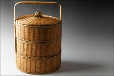 Japanese Bamboo Work Woven Basket 3 Tier Lunch Box #7555