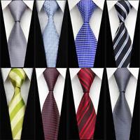 Black Red Light Blue Grey Brown Wedding Stripe Necktie Silk Men's Business Tie
