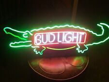 "New Bud Light Alligator Neon Light Sign 20""x16"" Beer Man Cave Bar Artwork Glass"