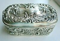 Big Antique Rococo Repousse Gorham Sterling Silver Jewelry Dresser Box Victorian