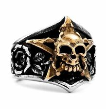 Mens Stainless Steel Silver Gold Rose Skull Gothic Biker Motorcycle Ring Size 9