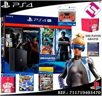 PS4 PRO 4K 1TB FIFA 2020 THE LAST OF US UNCHARTED SONIC GTAV FORNITE + 500 PAVOS