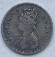 British India 1874 2 Annas Victoria British Colonial Silver Two Annas