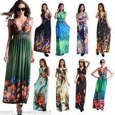 AU 8-36 L/XL/2XL/3XL/4XL/5XL/6XL Plus Size Women Summer Long Maxi Dress Sundress