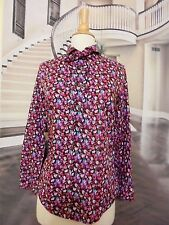 #118 J CREW TIE NECK COTTON SHIRT WITH RUFFLES LIBERTY  NWT 2 #F8523