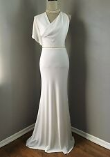 $428 BCBG White Asymmetrical Chic Halter Wedding Gown Prom Belt Dress Size XS 2