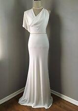 $428 BCBG White Asymmetrical Chic Halter Wedding Gown Prom Belt Dress Size XS 2