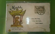 #2 Tiger Harimau Malaysia 1957 Merdeka Malaya Tunku Abdul Rahman stamp FDC
