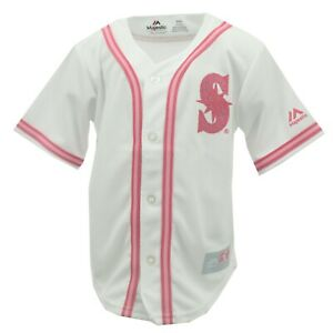 Seattle Mariners MLB Majestic Toddler & Kids Girls Size Pink Jersey New With Tag