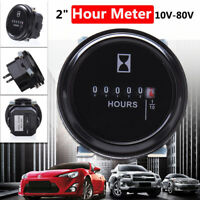 "12/24V 36V Quartz Hour Meter 2"" Round Gauge Waterproof for Marine Boat Engine GW"