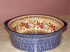 """Polish Pottery UNIKAT 10"""" Round Baker! Rembrandt Pattern!"""