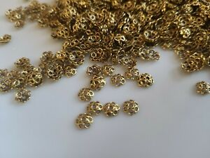 Metal Alloy Bead Caps Antique Gold Flower 5mm Pack Of 100+