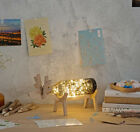 Smoke Grey LED Length 27cm Deer Decoration Wood +Glass Table Light/Lamp #