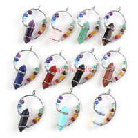 Natural Silver Plated Wire Wrap 7 Chakra Beads Gemstone Hexagon Pendant Necklace