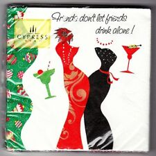 Cypress Beverage Paper Napkins~Diva Christmas~Friends Don't Let Drink Alone~20