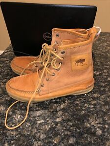 H.S. Trask Mens US 11M Brown Leather Gallatin Gate Moccasin Lace Up Boots