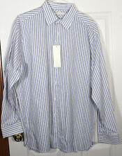PERRY ELLIS NWT MEN STRIPE BUTTON UP FRENCH CUFF L WHITE BLUE NAVY OLIVE GREEN
