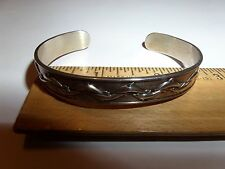 VINTAGE STERLING SILVER KABANA KBN SWIMMING DOLPHINS CUFF BRACELET