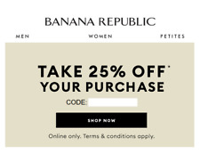 BANANA REPUBLIC 25% off code coupon