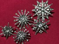 Vintage Style Art Deco Celestial Astrology Clear Crystal Star 5 Pin Brooches Set