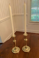 A Pair of Baldwin Brass 10 Inch Smithsonian Institution Brass Candlesticks