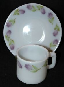 Pyrex LAOpala La Opala Milk Glass Espresso Coffee Cups & Saucers 7-pc Set
