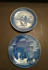 Lot of 2 Vintage Christmas Collector Plates - Immervad Bridge & Weihnachtsabend