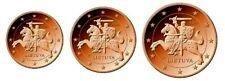Lituanie 2015 Serie 1,2,5 Centime Lot 3 Pieces Euro Neuve De Rouleau Unc