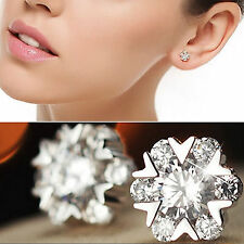 925 Silver Clear Crystal Flower Snowflake Round Stud Earrings New UK 221
