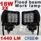 "2x 4"" 18W CREE LED Work Light Bar Flood Beam Driving Lamp Off Road 4WD Boat Jeep"