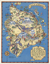 1931 Pictorial Map Island of Hawaii Vintage Wall Art Poster Print Decor Hawaiian