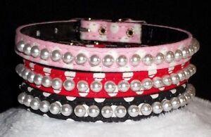 DOG Collar Petite Pearls Polka Dot Designer xs Small Pet CUTE! necklace look 3/8