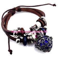 21870 Handmade Brown Leather Pink Flower Bead Heart Locket Bracelet Adjustable