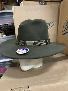 Stetson Hammer Olive Green Crushable Wool Hat made in USA size S